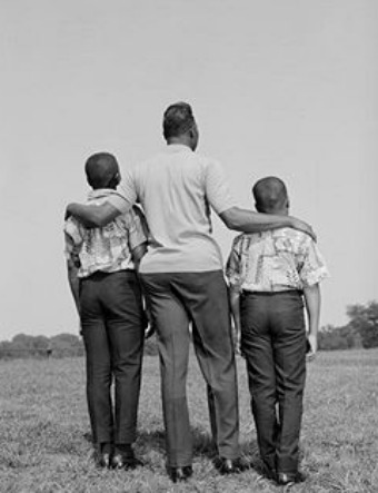 young black african american boys with dad back view