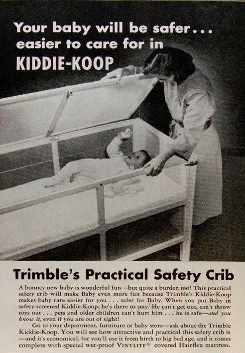 Kiddie koop baby crib vintage ad advertisement.
