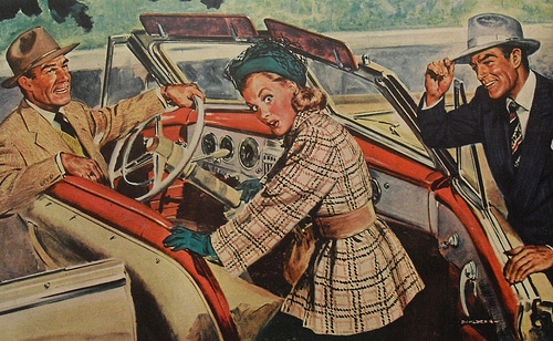 Vintage man opening car door for woman illustration.