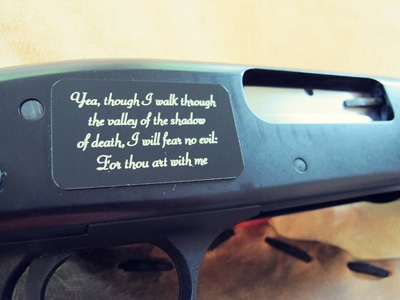 Plate on a shotgun.