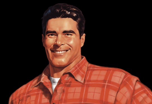Modern updated brawny man brand icon in red shirt.