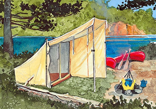 Vintage illustration lean to tent campsite next to lake.
