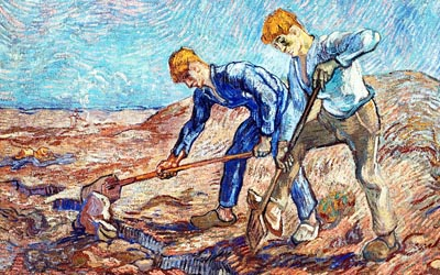 blue collar men digging earth painting