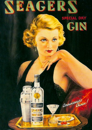 Vintage Seagers dry gin ad advertisement pin up girl.