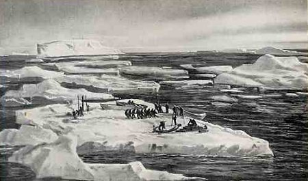 Shackleton expedition men camping on icebergs ice floes.