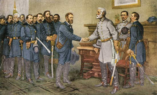 robert lee surrounding civil war shaking hands painting
