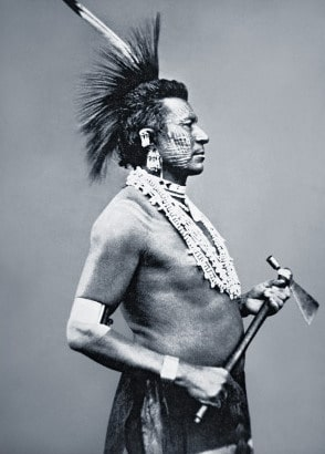 osage indian warrior with tomahawk pipe