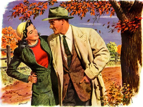 vintage man woman couple illustration walking in fall
