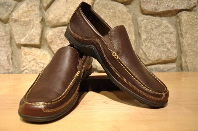casual brown leather slip on shoes