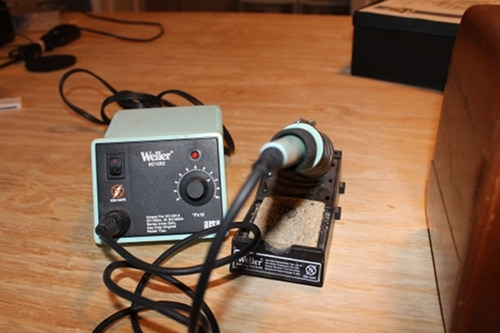 Weller soldering iron for making DIY mp3 player.