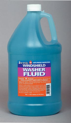 Windshield washer wiper fluid in bottle for car.