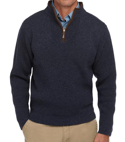 Quarter zip pullover sweater with ribbed pattern navy.