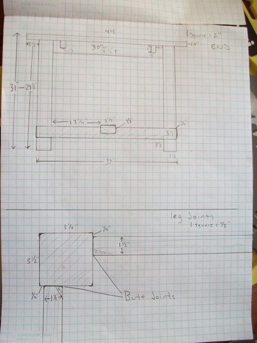 Drawing for top and bottom view of table on grid paper.