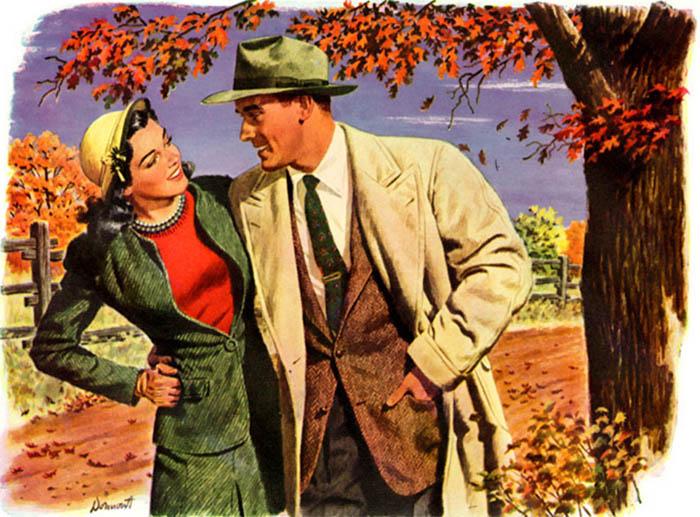 Couple enjoying in garden illustration.