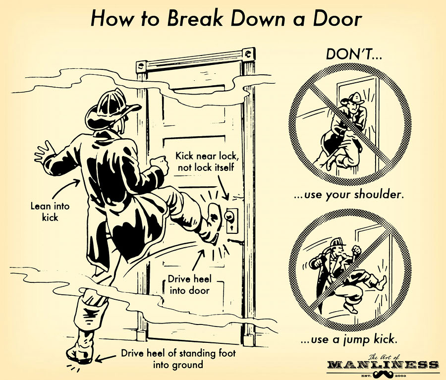 how to break down a door fireman illustration drawing