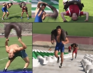 men working out using bulgarian training bag