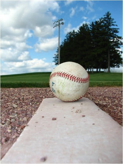 baseball on mound field of dreams iowa countryside