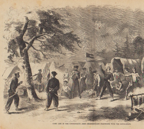 civil war soldiers throwing knives in tree illustration