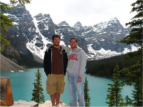 lake moraine banff national park canada men posing