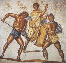Gladiators fighting with armor illustration.