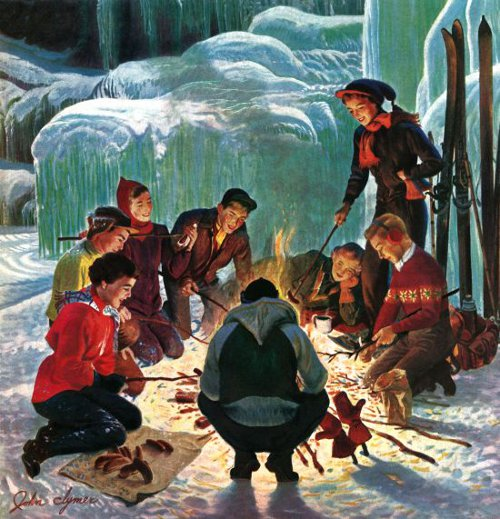 vintage illustration friends weenie roast winter ice