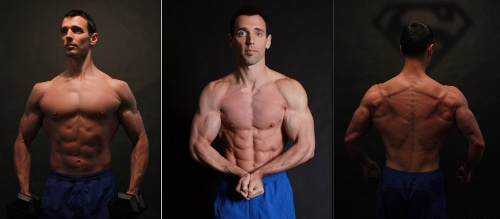 Man showing muscles in different poses.