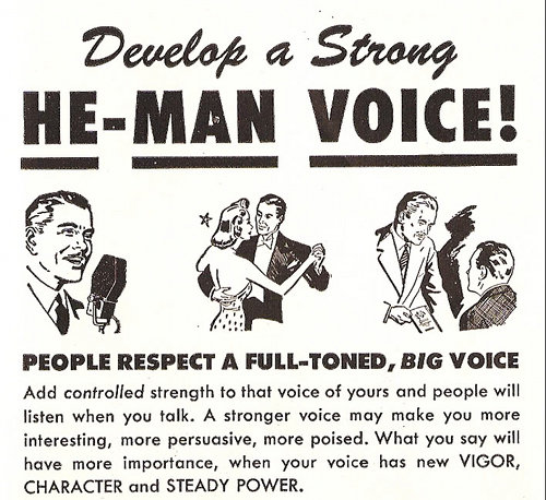 develop a he-man voice vintage ad advertisement