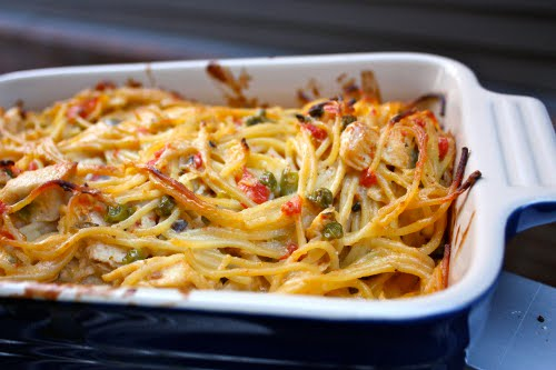 turkey rotel pasta in baking casserole dish