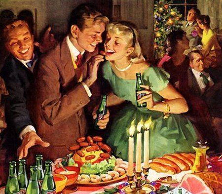 vintage holiday party illustration young couple buffet table