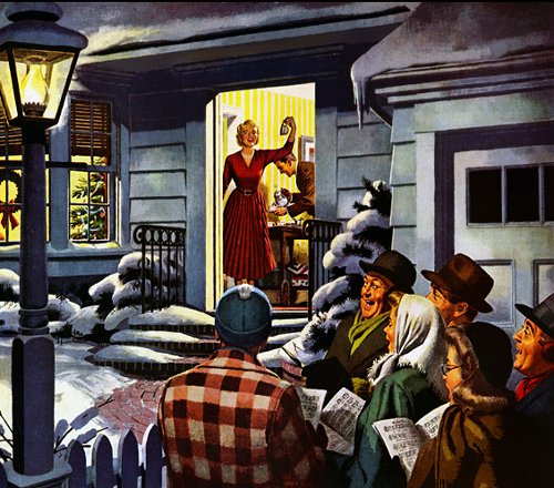 Vintage woman carolers singing in driveway illustration.