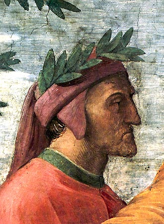 dante painting wearing cap of leaves red robe