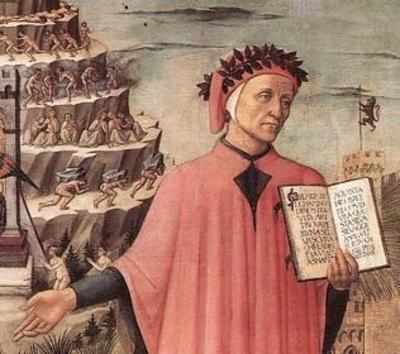 Dante holding a book and showing status of human life illustration.