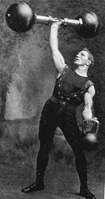 Vintage man lifting barbell and kettlebell illustration.