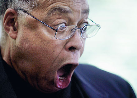 James earl Jones close up face surprised shocked.