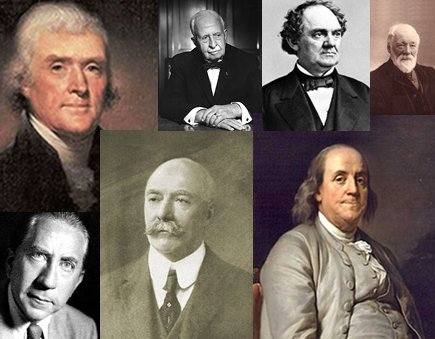 collage montage of men in history franklin jefferson