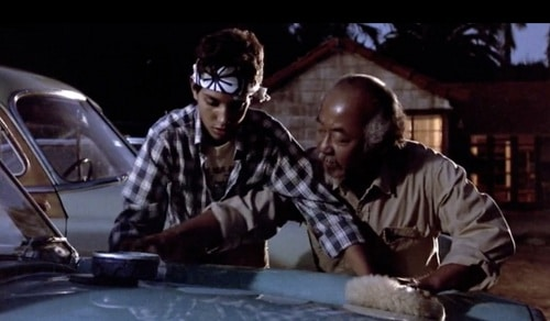 karate kid miyagi wax on wax off car