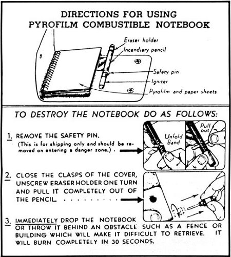 pryofilm combustible notebook spy tool