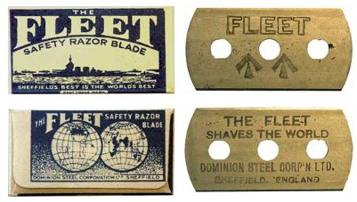 Fleet razor blades with concealed compass.