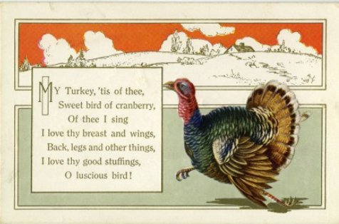 thanksgiving poem song my turkey tis of thee