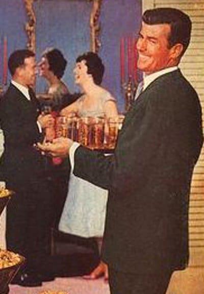 vintage party host bringing drinks to guests illustration