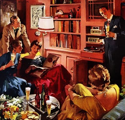 vintage party host tuning radio in living room