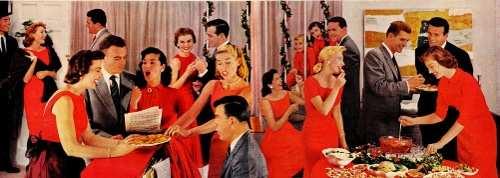 vintage holiday party illustration red dresses suits