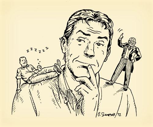Willpower man with Teddy Roosevelt on shoulder illustration.