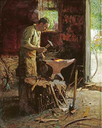 vintage illustration blacksmith working in shop anvil