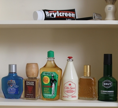 vintage drugstore colognes aftershaves in medicine cabinet