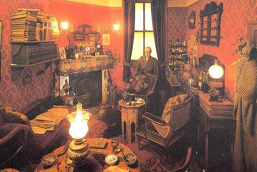 Vintage man sitting in Sherlock Holmes museum illustration.