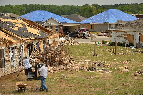homes neighborhood wrecked destroyed by tornado