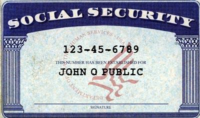 Social security card of John Q Public.