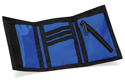 nylon and velcro blue sport wallet