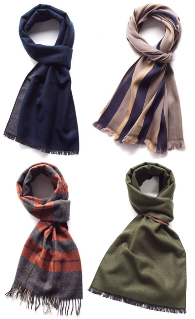 types of men's scarves patterned solid colors